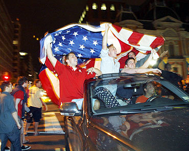People celebrate bin Laden's death in New York