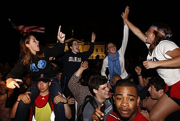 Americans celebrate outside the White House as news of bin Laden's broke out