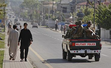 Soldiers patrol the city of Abbotabad in Pakistan's Khyber Pakhtunkhwa province on Monday