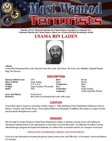 Osama bin Laden's page on the FBI's Most Wanted website