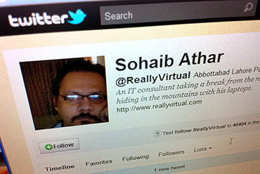 The Twitter page of Sohaib Athar