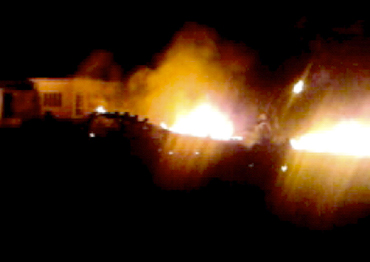 The compound, within which bin Laden was killed, is seen in flames after it was attacked in Abbottabad