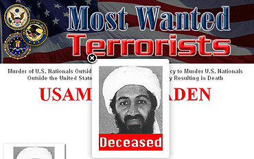 A screen grab from FBI's Most Wanted website shows the status of bin Laden as deceased