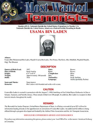 Bin Laden's page is seen on the FBI's Most Wanted website