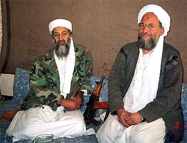 bin Laden sits with Al Qaeda's top strategist and second-in-command Ayman al-Zawahri