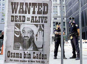 The poster of bin Laden in New York