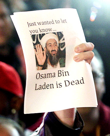 People celebrate after the announcement of Osama bin Laden's death in New York's Times Square