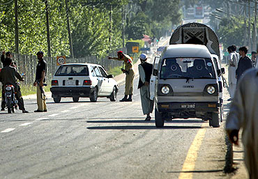 A road block in Abbotabad, in Pakistan's Khyber Pakhtunkhwa province, today. Osama was reportedly killed in this city, north of Islamabad