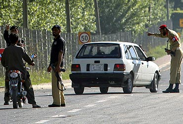 Security checks underway at a road block at Abbotabad in Pakistan's Khyber Pakhtunkhwa province