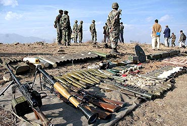 Pakistan army display ammunition confiscated from militants at Karvan Manza near the Afghanistan border