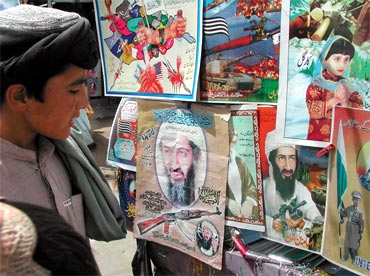 A boy looks at posters of Osama bin Laden displayed for sale at a roadside stall