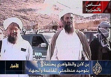 A still image taken from Al Jazeera television archive video footage shows Osama bin laden with Ayman al-Zawahri