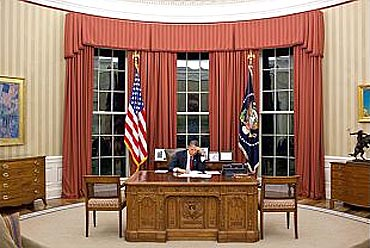 Obama edits his remarks in the Oval Office prior to making a televised statement detailing the mission against bin Laden