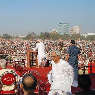 Biman Bose at a public rally being addressed by Buddhadeb