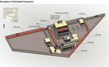 A drawing, released by the United State Department of Defence, shows the compound that bin Laden was killed in