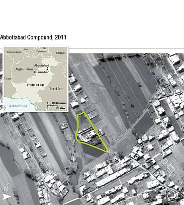 A satellite image of the Abbottabad residence of Osama bin Laden