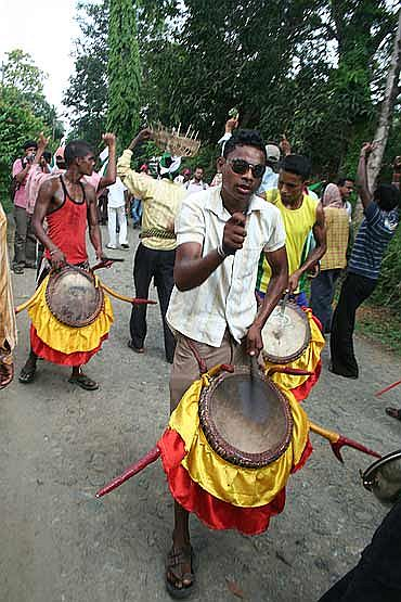 Drummers were part of the rally