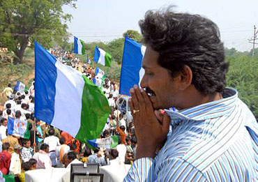 Jagan Reddy at a rally in Kadapa