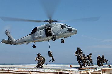 The US Navy SEALS in action
