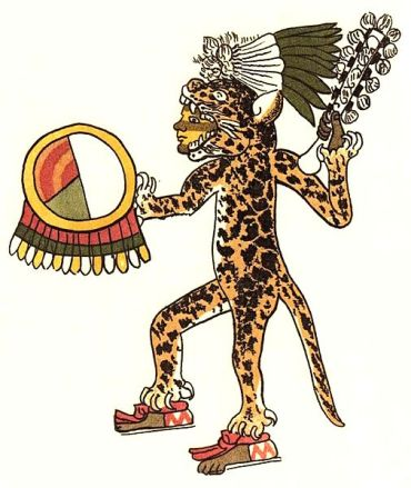 Aztec jaguar warrior as portrayed in the folio 30r of the Codex Magliabechiano