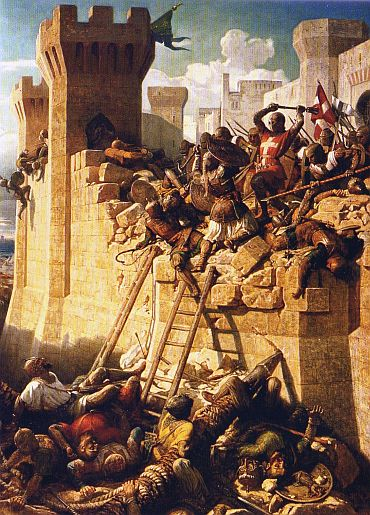 The Hospitaller grand master Guillaume de Villiers defending the walls of Acre, Galilee, 1291, by Dominique-Louis Pap ty (1815 1849) at Versailles