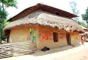 Graffiti makes this house in a Lalgarh village a colourful affair