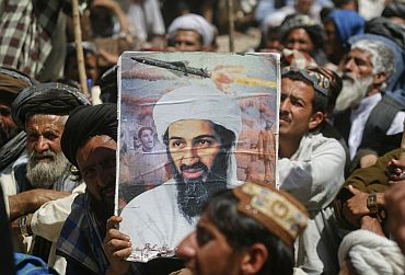 A supporter of the Pakistani religious party Jamiat-e-ulema-e-Islam during an anti-US rally on the outskirts of Quetta