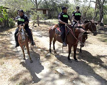 Costa Rica's police patrol the border between Nicaragua and Costa Rica