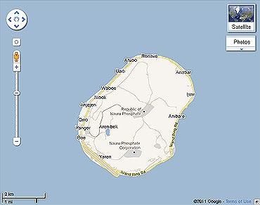 A Google map of the Nauru island