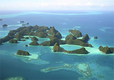 An aerial view of islands in Palau