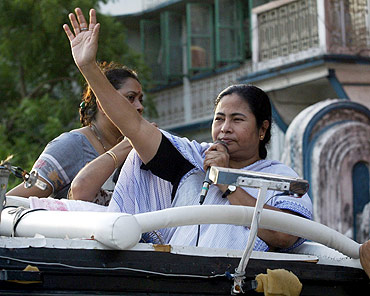 Trinamool Congress chief Mamata Banerjee at a political rally