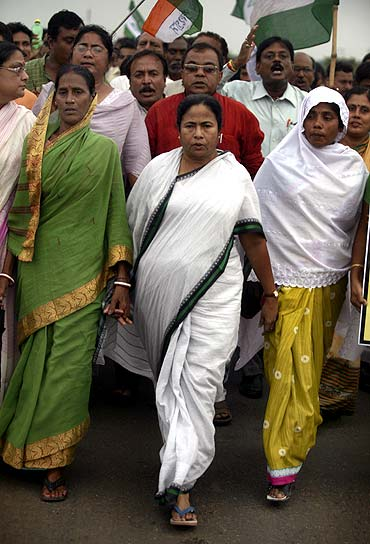 A file photo of Mamata Banerjee at a protest rally in Singur