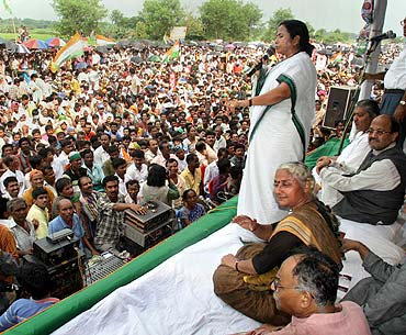 Mamata Banerjee at a protest rally against the Tata Nano plant in Singur