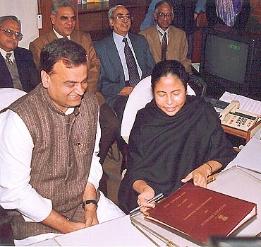 Railway Minister Mamata Banerjee with the Railway Budget papers