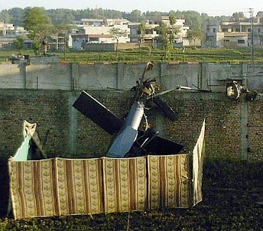 The damaged chopper near Osama bin Laden's mansion