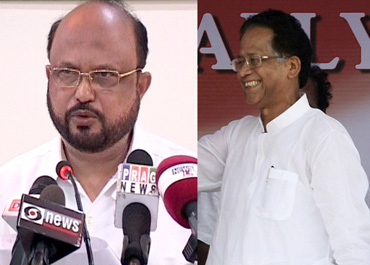 Leader of Opposition Prafulla Mahanta (left) and Assam CM Tarun Gogoi (right)