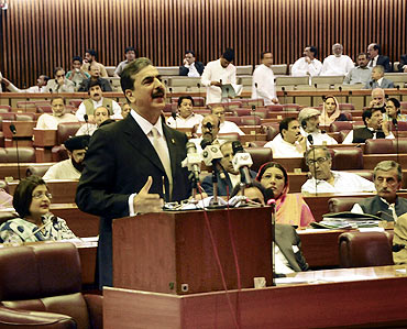 Pakistan Prime Minister Yusuf Raza Gilani speaks during a Parliament session in Islamabad