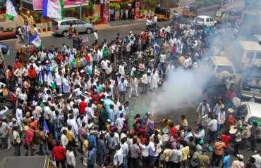 Thousands of Jagan supports broke into spontaneous celebrations in Hyderabad after the results were announced.
