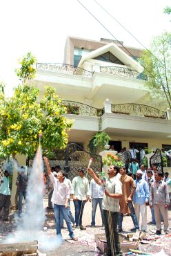 Thousands of Jagan supporters broke into spontaneous celebrations in Hyderabad after the results were announced.