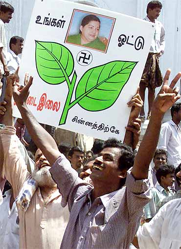 Supporters of AIADMK in Chennai