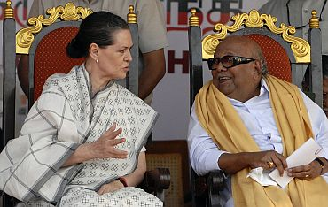 Congress chief Sonia Gandhi with DMK supremo M Karunanidhi at a function in Chennai