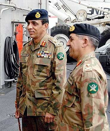 Pak Army chief Gen Kayani with ISI's Pasha