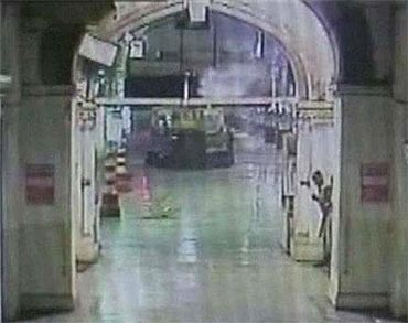 A video grab showing the attack on CST, Mumbai