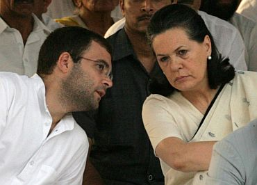 Congress General Secretary Rahul Gandhi with mother and Congress chief Sonia Gandhi