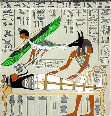 An ancient Egyptian image endorsing their belief on afterlife, as the soul (depicted as a bird) leaving behind the mortal body after death.