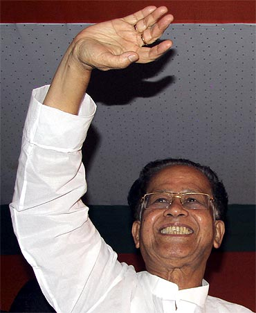 Assam Chief Minister Tarun Gogoi reacts after winning the assembly elections