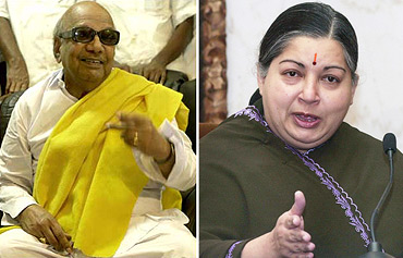 DMK chief M Karunanidhi and AIADMK chief J Jayalalithaa