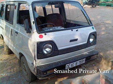 A smashed van