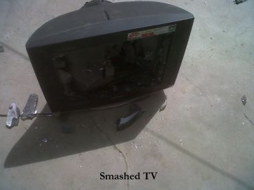 A smashed television set