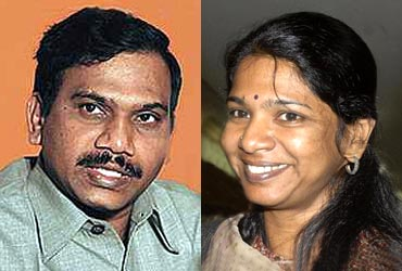 2G scam accused A Raja and Kanimozhi